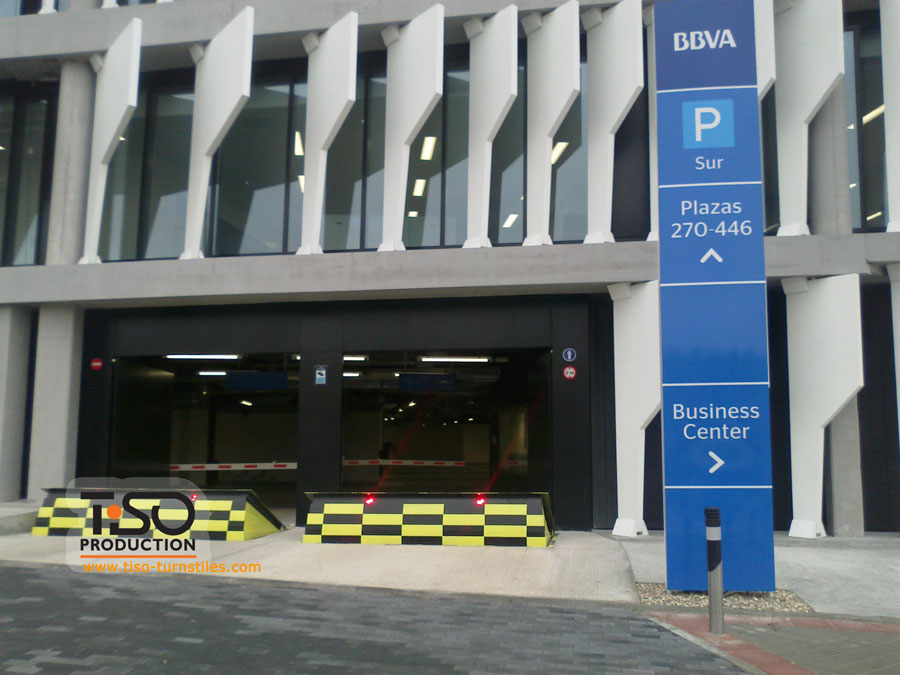 Road blockers, the headquarters of BBVA, Spain